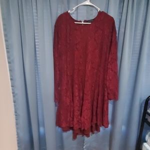 Burgundy lace hi low dress